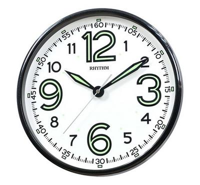 Rhythm Quartz Wall Clock With Silent Silky Move Glow In The Dark Black/White