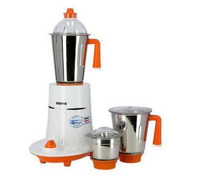 Geepas 550W 3in1 Mixer Grinder, 3 Stainless Steel Jars, ABS Body , White&Orange.