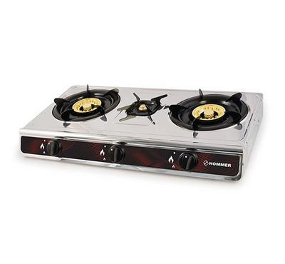 Hommer 3 Brass Cup Burner Gas Stove, Enameled Pan Support.