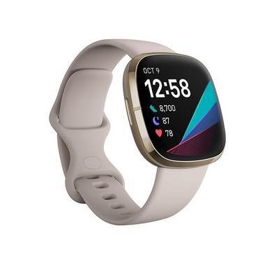 Fitbit Sense, Lunar White Smart Watch Soft Stainless Steel, Gold