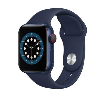 Apple Watch Series 6 GPS + Cellular, 40MM Blue Aluminium Case with Deep Navy Sport Band