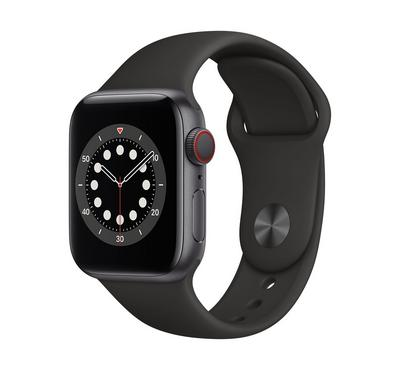 Apple Watch Series 6 GPS + Cellular, 40MM Space Grey Aluminium Case with Black Sport Band