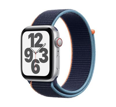 Apple Watch SE GPS + Cellular, 44MM Silver Aluminium Case with Deep Navy Sport Loop