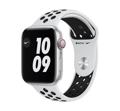 Apple Watch Nike SE GPS + Cellular, 44MM Silver Aluminium Case with Pure Platinum/Black Nike Sport B