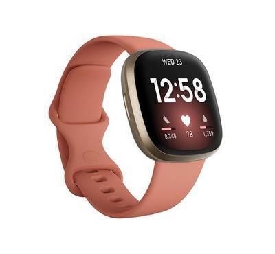 Fitbit Versa 3 Samrt Watch Clay Soft Gold Aluminum case, Pink