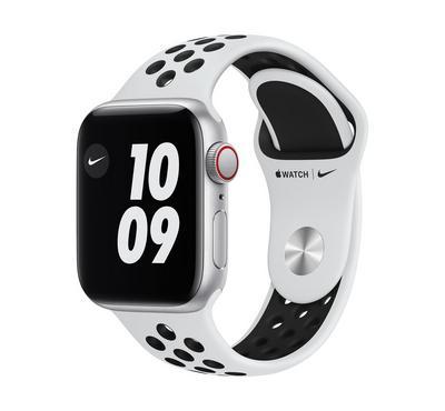 Apple Watch Nike SE GPS + Cellular, 40MM Silver Aluminium Case with Pure Platinum/Black Nike Sport B