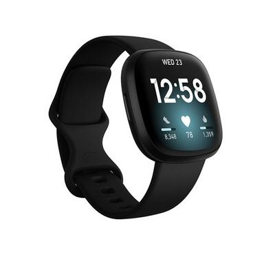 Fitbit Versa 3 Smart Watch Black Aluminum case, Black