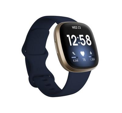Fitbit Versa 3 Smart Watch Soft Gold Aluminum case, Midnight