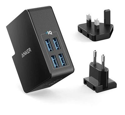 Anker POWERPORT, Wall Charger With 4Ports UK/US Plug, 27W, Black