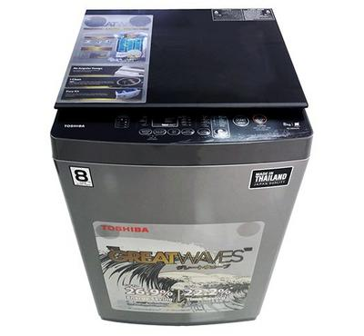 Toshiba The Greatwaves Washing Machine Top Load,8.0kg, With Pump,Silver.