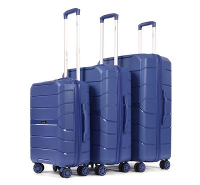PP Set Of 3 Luggage Trolley Case, 20/24/28,Blue