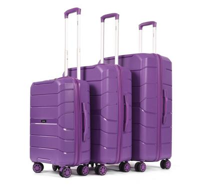 PP Set Of 3 Luggage Trolley Case, 20/24/28,Purple