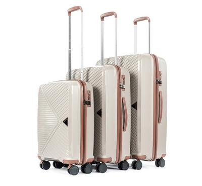 PP Set Of 3 Luggage Trolley Case, 20/24/28,Champagne