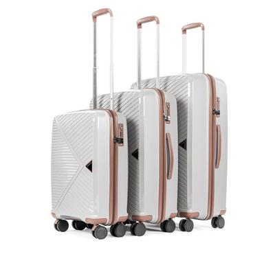 PP Set Of 3 Luggage Trolley Case, 20/24/28, Light grey