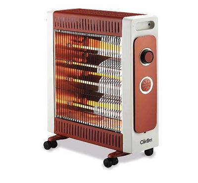 Clikon Quartz Halogen Room Heater, 4 Tubes, 2200W, Brown