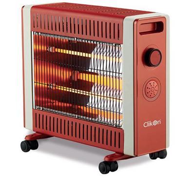 Clikon Quartz Halogen Room Heater, 2 Tubes, 1500W, Brown
