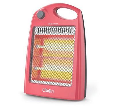 Clikon Portable Quartz Halogen Room Heater, 2 Tubes, 800W, Red