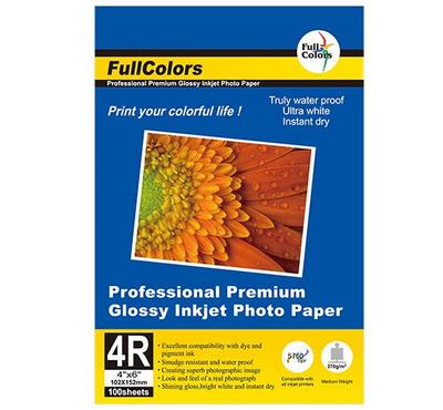 FULL COLORS 4R 4 x 6 inch, GLOSSY Inkjet Photo Paper, 100 Sheets