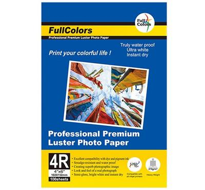 FULL COLORS 4R 4 x 6 inch, LUSTER Photo Paper, 100 Sheets