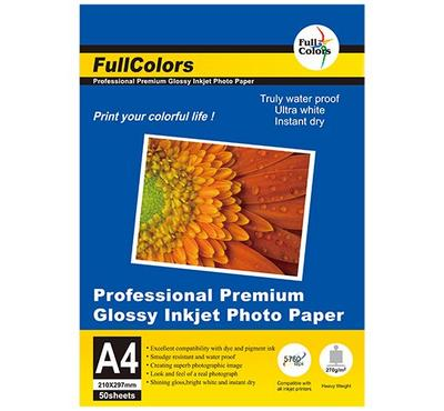 FULL COLORS, A4 GLOSSY Inkjet Photo Paper, 50 Sheets