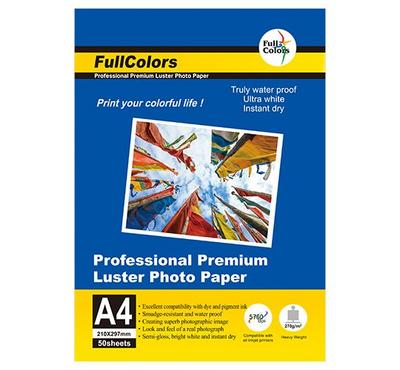 FULL COLORS, A4 LUSTER Inkjet Photo Paper, 50 Sheets