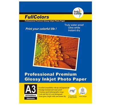 FULL COLORS, A3 GLOSSY Inkjet Photo Paper, 20 Sheets