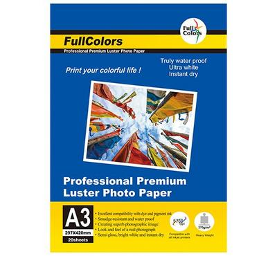FULL COLORS, A3 LUSTER Inkjet Photo Paper, 20 Sheets
