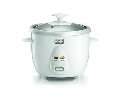 Black+Decker 0.6L Rice Cooker With Glass Lid 350W White