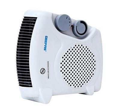 Geepas Fan Heater, 2 Heat Settings, Temperature Controll, White.