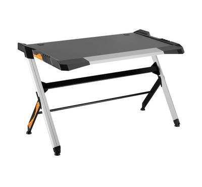 Fit Gear, Deluxe Aluminum Gaming Desk, Gradient LED Light, Black and Silver