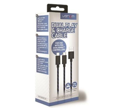 Venom, Dual play and charge cable, USB Type-A to USB-C, 3M, Black