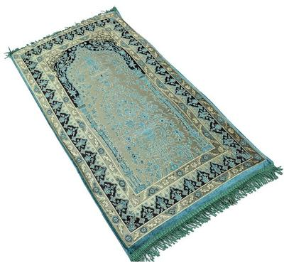 Sundus, Comfortable  Prayer Mat 110X65cm, Memory Foam, Greenish Blue