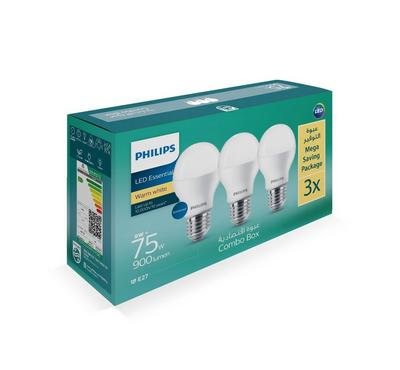 Philips, 3PCS Led Bulb 9W, E27 3000K 110-220V, Warm White