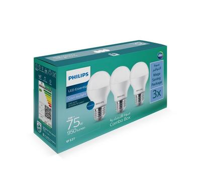 Philips, 3PCS Led Bulb 9W,  E27 6500K 110-220V, Cool Day White