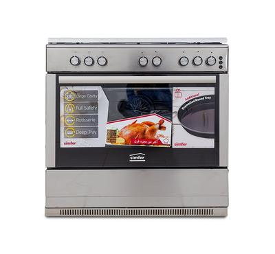 Simfer 90 x 60 Freestanding Gas Cooker, 5 Burners, Full Safety, Inox