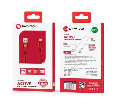 Baykron Cable USB To Micro 1.2 M, Red