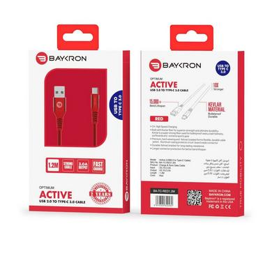 Baykron Cable USB A to Type C 1.2M, Red