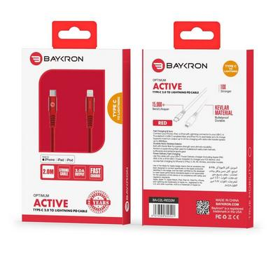 Baykron Cable Type C to Lightning 2 M, Red