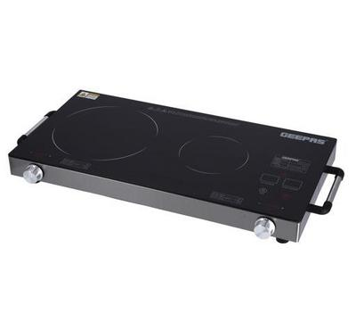 Geepas Double Burner Infrared Cooker, 2600W, Ceramic Heating, Black & Steel