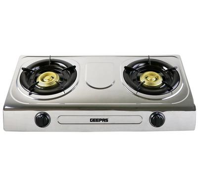Geepas Double Burner Gas Cooker,Auto Ignition, Stainless Steel