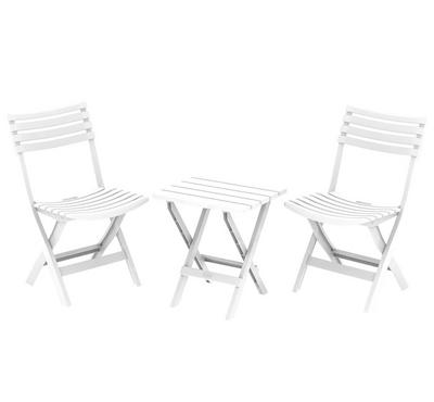 Cosmoplast, Portable Outdoor Set, 2 Chair 1 Table,White