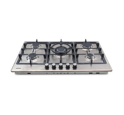 Simfer 90cm Gas Hob, 5 Burners with Safety, Electronic Ignition, Stainless Steel.