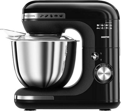 Geepas 3in1 5.0L Kitchen Machine Stand Mixer With Stainless Bowl 600W Black