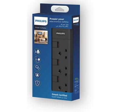 Philips, Power Multiplier Power Extension Cord 3-Way, 3250W Max Load, 2.0m, Black