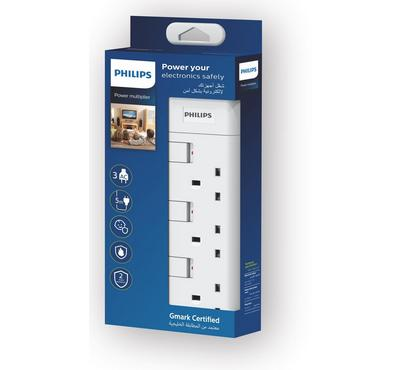 Philips, POWER MULTIPLIER Power Extension Cord 3-Way BS Socket, 5m, White