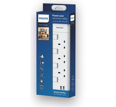 Philips, POWER MULTIPLIER Power Extension Cord 3-Way BS Socket With 2USB Ports, 5m, White