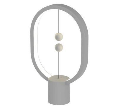 Allocacoc, Heng Balance Lamp Ellipse Plastic Usb-C, Grey Wood Print