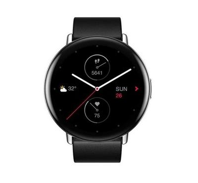 Zepp E CIRCLE A1936 42mm Smartwatch,Leather Strap Polar Night Black