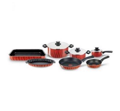 Tefal, Cookware 10 Pcs Set, Red