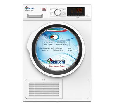 Berloni 8.0KG Condenser Clothes Dryer Digital Display 2500W White